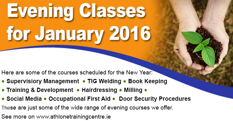 List of up coming evening courses which can be found on the eveing courses page